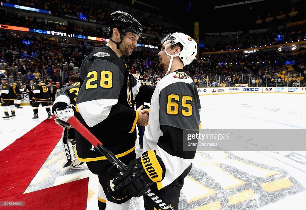 John Scott of the Arizona Coyotes shakes hands with Erik Karlsson of the Ottawa Senators after the 2016 Honda NHL AllStar Final Game between the...