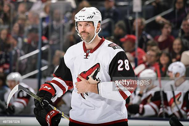 John Scott of the Arizona Coyotes skates against the Columbus Blue Jackets on November 14 2015 at Nationwide Arena in Columbus Ohio