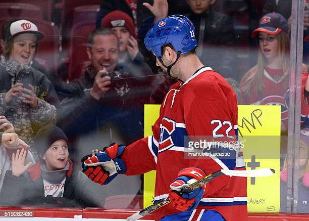 John Scott of the Montreal Canadiens warms up prior to the NHL game against the Florida Panthers in the NHL game at the Bell Centre on April 5 2016...