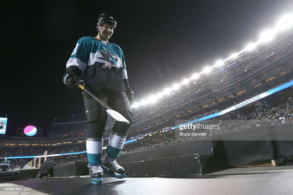 <a gi-track='captionPersonalityLinkClicked' href=/galleries/search?phrase=John+Scott+-+Ice+Hockey+Player&family=editorial&specificpeople=10837846 ng-click='$event.stopPropagation()'>John Scott</a> #20 of the San Jose Sharks walks back to the locker room after warm ups against the Los Angeles Kings at Levi's Stadium on February 21, 2015 in Santa Clara, California.