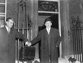 John SelwynLloyd English politician as Foreign Secretary leaving 10 Downing Street London during the Egyptian Crisis where he defended Eden's policy...