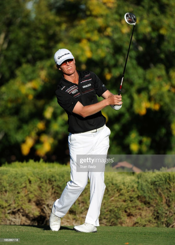 <a gi-track='captionPersonalityLinkClicked' href=/galleries/search?phrase=John+Senden&family=editorial&specificpeople=588020 ng-click='$event.stopPropagation()'>John Senden</a> of Australia hits a drive on the 16th hole during the third round of the Shriners Hospitals for Children Open at TPC Summerlin on October 19, 2013 in Las Vegas, Nevada.
