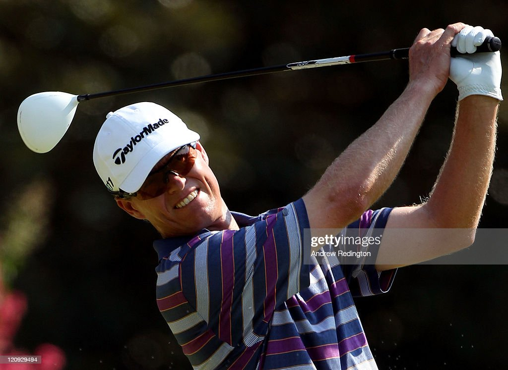 <a gi-track='captionPersonalityLinkClicked' href=/galleries/search?phrase=John+Senden&family=editorial&specificpeople=588020 ng-click='$event.stopPropagation()'>John Senden</a> of Australia hits his tee shot on the third hole during the second round of the 93rd PGA Championship at the Atlanta Athletic Club on August 12, 2011 in Johns Creek, Georgia.