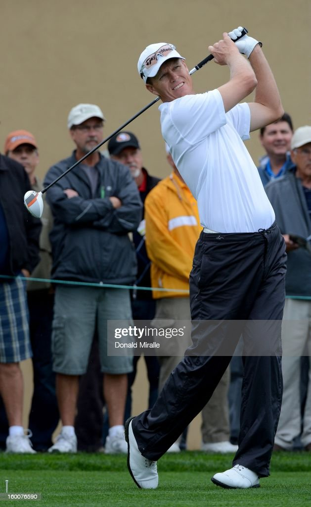 John Senden of Australia hits off the tee box during the first round at the Farmers Insurance Open at Torrey Pines North Golf Course on January 25, 2013 in La Jolla, California.