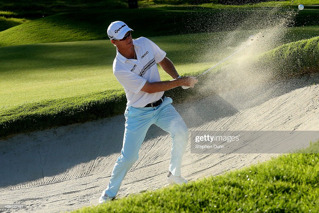 John Senden of Australia hits out of a bunker on the 9th hole in the second round of the Northern Trust Open at the Riviera Country Club on February 14, 2014 in Pacific Palisades, California.