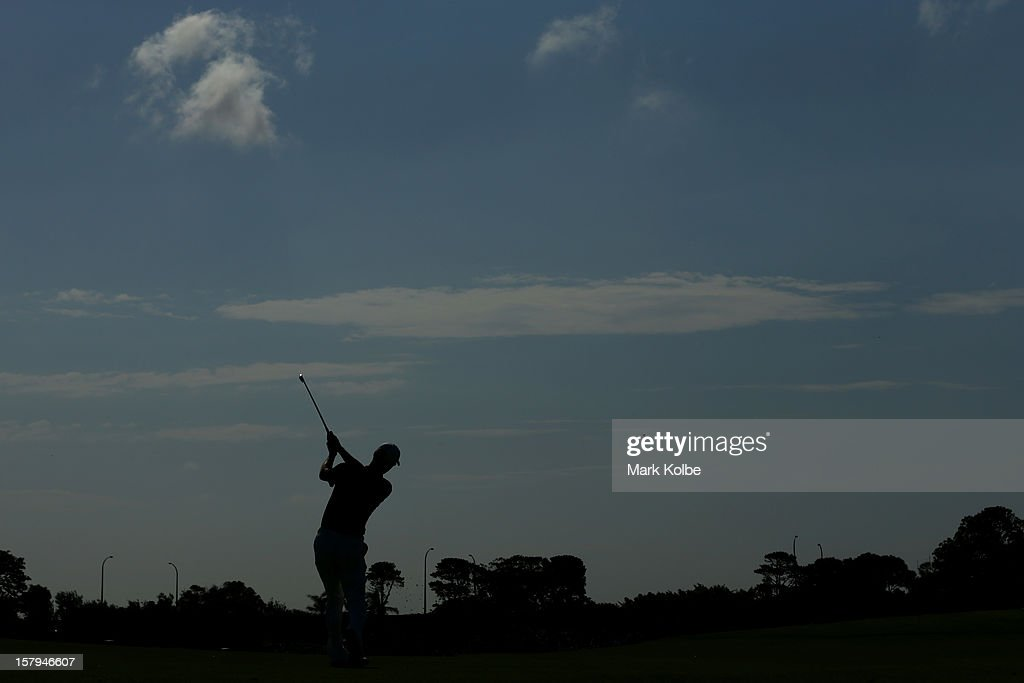 <a gi-track='captionPersonalityLinkClicked' href=/galleries/search?phrase=John+Senden&family=editorial&specificpeople=588020 ng-click='$event.stopPropagation()'>John Senden</a> of Australia plays a fairway shot during round three of the 2012 Australian Open at The Lakes Golf Club on December 8, 2012 in Sydney, Australia.