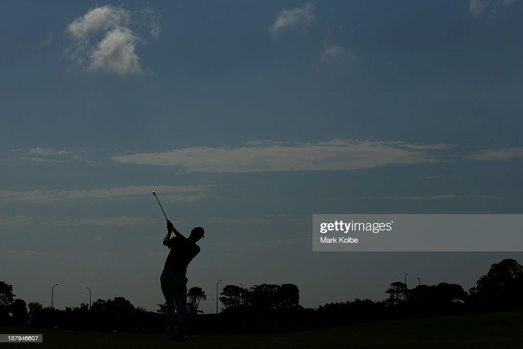 John Senden of Australia plays a fairway shot during round three of the 2012 Australian Open at The Lakes Golf Club on December 8, 2012 in Sydney, Australia.
