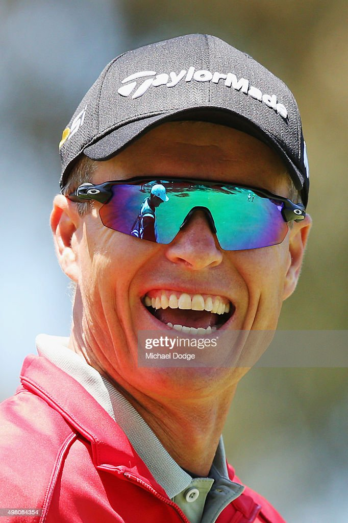 John Senden of Australia reacts after an approach shot during day three of the 2015 Australian Masters at Huntingdale Golf Club on November 21, 2015 in Melbourne, Australia.