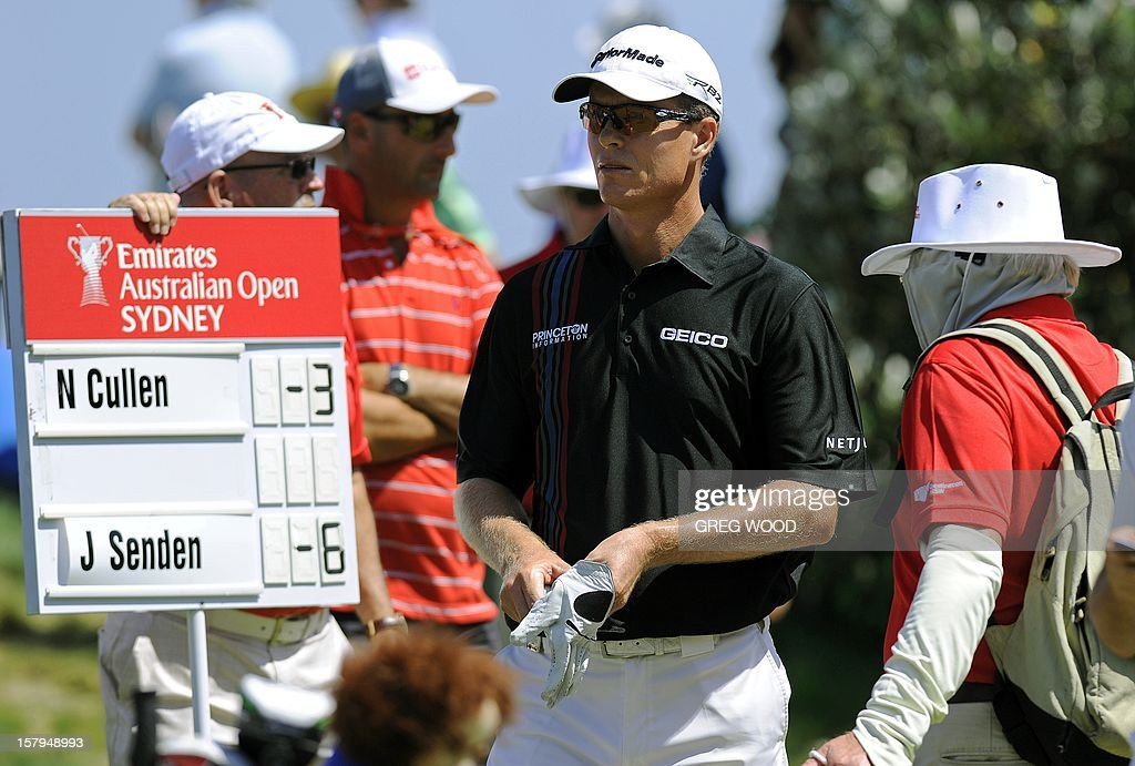 John Senden of Australia (C) waits to play a tee shot during round three of the Australian Open golf at The Lakes course in Sydney on December 8, 2012. AFP PHOTO / Greg WOOD USE