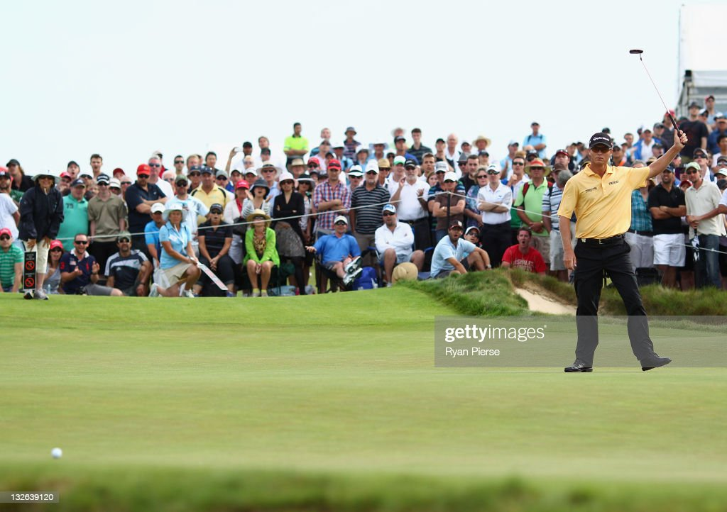 <a gi-track='captionPersonalityLinkClicked' href=/galleries/search?phrase=John+Senden&family=editorial&specificpeople=588020 ng-click='$event.stopPropagation()'>John Senden</a> of Australia watches his putt stop short on the 18th Green during day four of the 2011 Emirates Australian Open at The Lakes Golf Club on November 13, 2011 in Sydney, Australia.