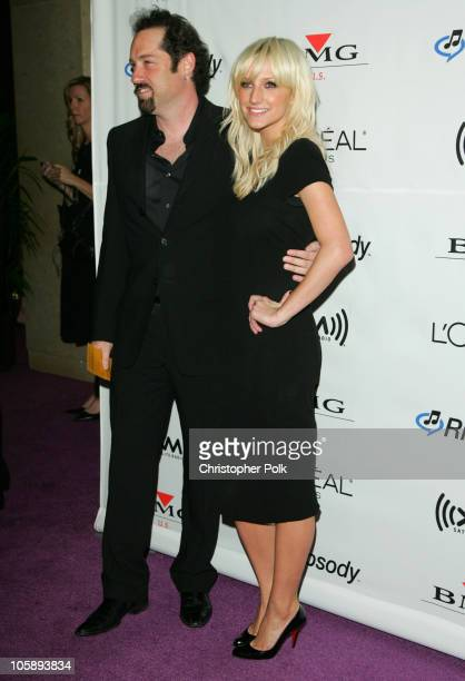 John Shanks and Ashlee Simpson during 2006 Clive Davis PreGRAMMY Awards Party Arrivals at Beverly Hilton Hotel in Beverly Hills California United...