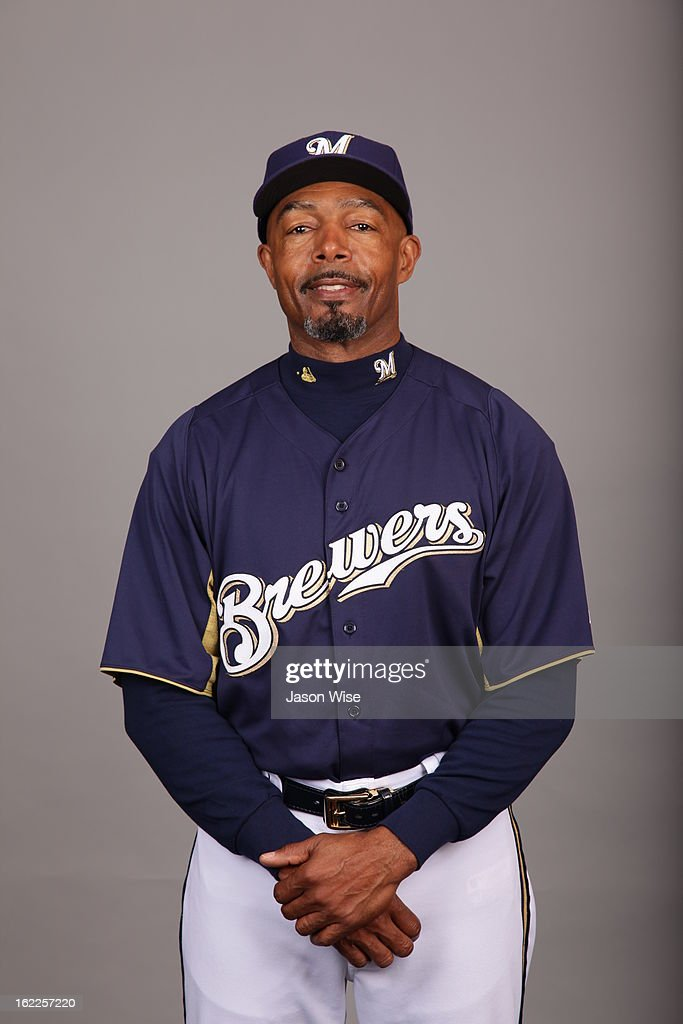 John Shelby #33 of the Milwaukee Brewers poses during Photo Day on February 17, 2013 at Maryvale Baseball Park in Phoenix, Arizona.
