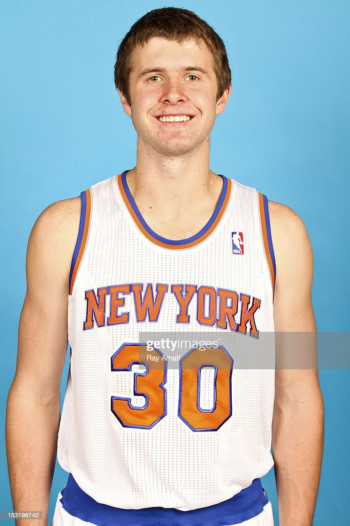 John Shurna #30 of the New York Knicks poses for a photo during the New York Knicks Media Day on October 1, 2012 at the Madison Square Garden Training Center in Tarrytown, New York.