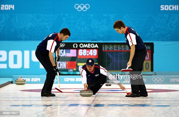 John Shuster of the USA and his teammates John Landsteiner and Jared Zezel compete in the men's round robin session against China during day four of...