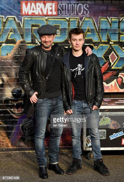 John Simm and son Ryan attend the European launch event of Marvel Studios' 'Guardians of the Galaxy Vol 2' at the Eventim Apollo on April 24 2017 in...