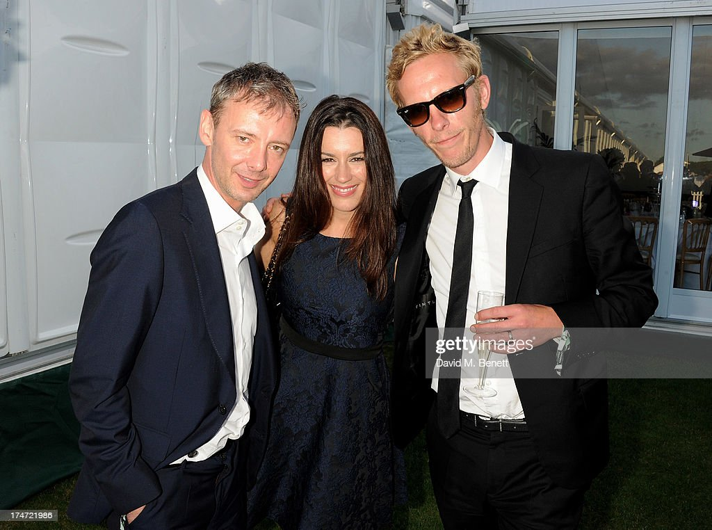 John Simm, Kate Mcgowan and Laurence Fox attend the Boujis tent at the Audi International Polo day at Guards Polo Club on July 28, 2013 in Egham, England.