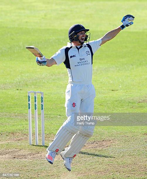 John Simpson of Middlesex celebrates after hitting a six to win the match in the final over during Day Four of the Specsavers County Championship...