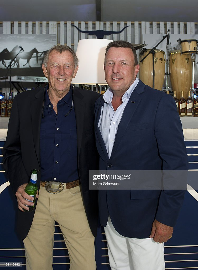 John Singleton and Hamish Turner (CEO of RM Williams) during the Magic Millions Opening Night cocktail party on January 8, 2013 in Surfers Paradise, Australia.