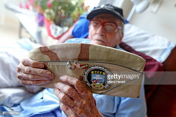 John Skelly holds a hat given to him to mark the 50year anniversary of the Bay of Pigs in his Fort Lauderdale Fla apartment on June 3 2015 Skelly...