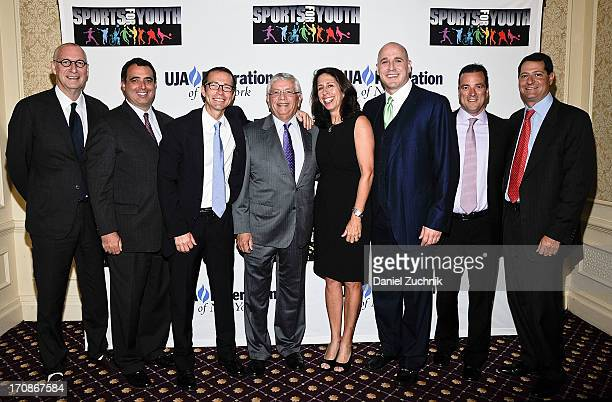 John Skipper Russell Wolff Richard Lovett David Stern Michael Levine and David Blitzer with guests attend UJAFederation Of New York's Sports for...