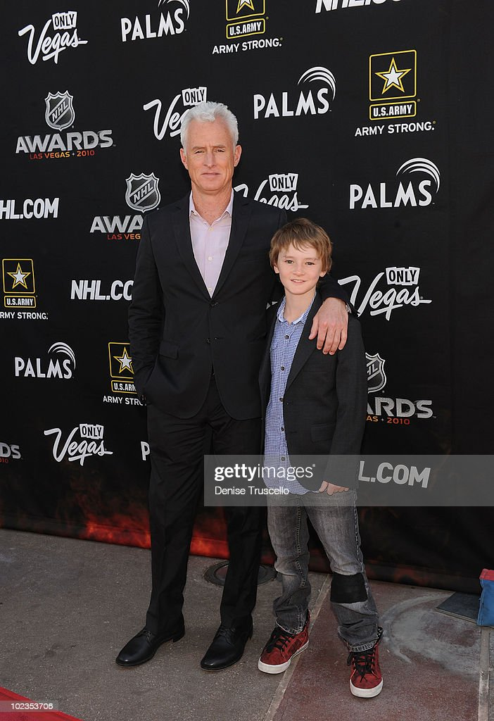 John Slattery and Harry Slattery arrive at the 2010 NHL Awards at The Palms Casino Resort on June 23, 2010 in Las Vegas, Nevada.