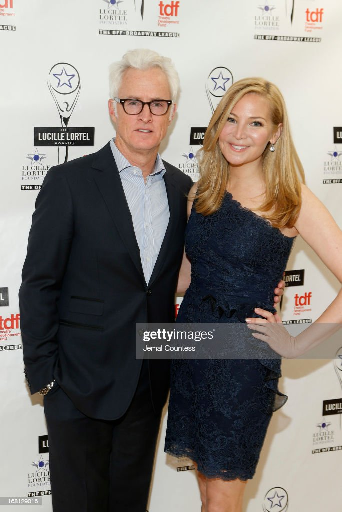John Slattery and Jennifer Westfeldt pose backstage at the 28th Annual Lucille Lortel Awards on May 5, 2013 in New York City.