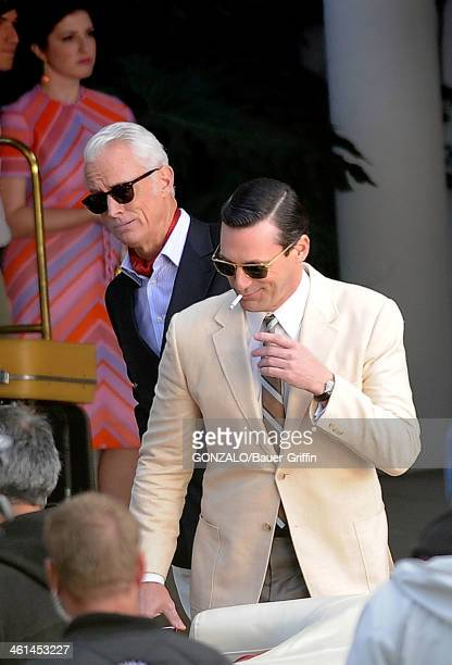 John Slattery and Jon Hamm are seen filming 'Mad Men' on March 05 2013 in Los Angeles California