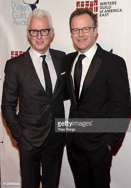 John Slattery and Tom McCarthy attend the 68th Annual Writers Guild Awards at Edison Ballroom on February 13 2016 in New York City