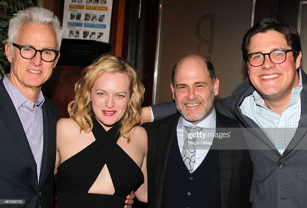 John Slattery, Elisabeth Moss, Matthew Weiner, Rich Sommer and Rich Sommer (costars from TV's 'Mad Men') pose at 'The Heidi Chronicles' Broadway Opening Night Party at Redeye Grill on March 19, 2015 in New York City.