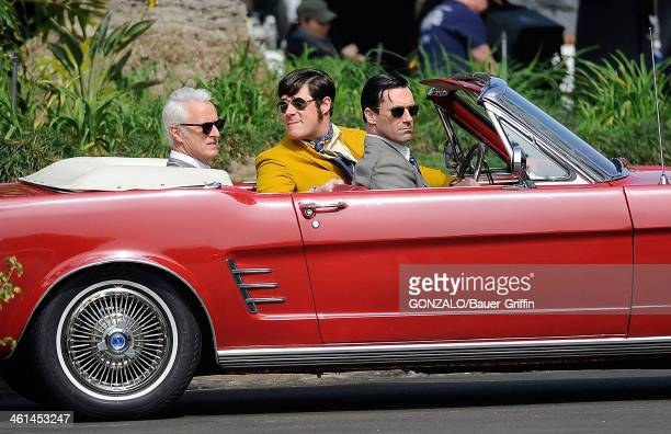 John Slattery Rich Sommer and Jon Hamm are seen filming 'Mad Men' on March 05 2013 in Los Angeles California