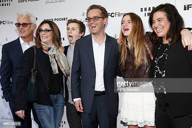 John Slattery Talia Balsam and Henry Slattery Sam Bisbee and Jackie Kelman Bisbee attend 'God's Pocket' screening at IFC Center on May 4 2014 in New...