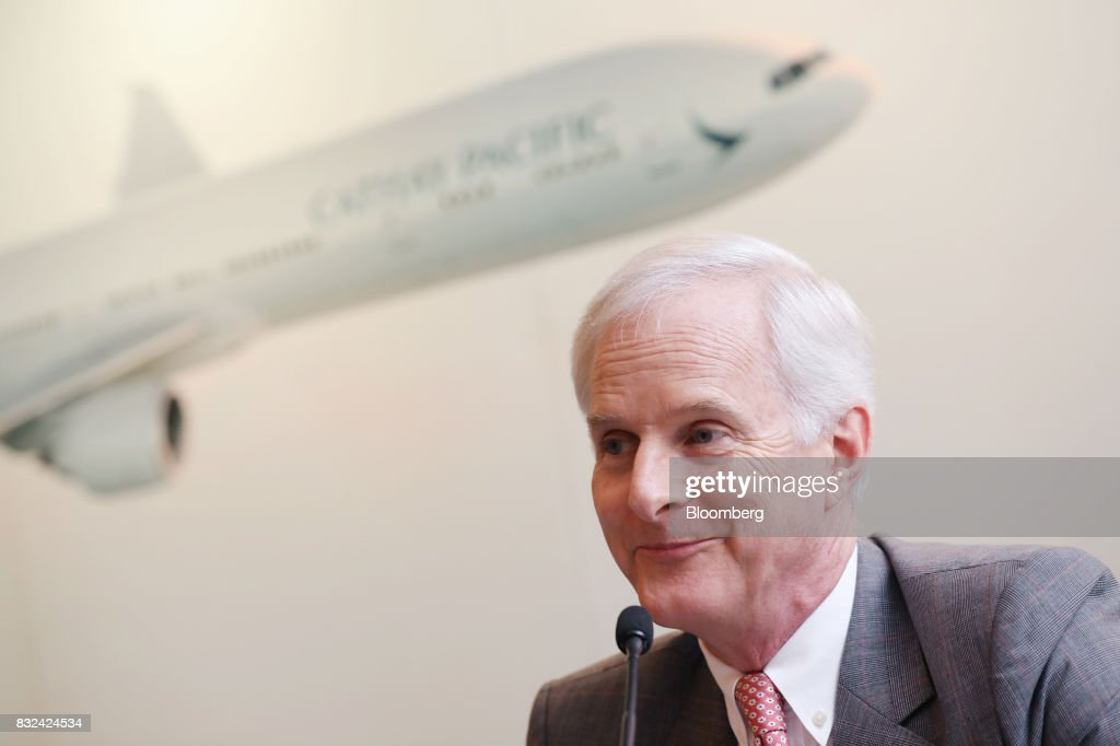 John Slosar, chairman of Cathay Pacific Airways Ltd., reacts during a news conference in Hong Kong, China, on Wednesday, Aug. 16, 2017. Cathay Pacific is slipping in its efforts to get passengers to pay more for its premium services in a test for new Chief Executive Officer Rupert Hogg as the company reported back-to-back losses. Photographer: Paul Yeung/Bloomberg via Getty Images