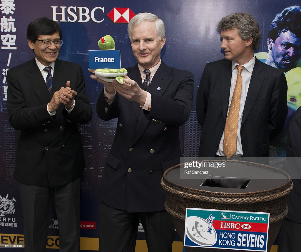 John Slosar, Chief Executive of Cathay Pacific Airways, selects a team during the Cathay Pacific/HSBC Hong Kong Sevens 2013 Official Draw held at Hysan Place, on February 21, 2013 in Hong Kong.
