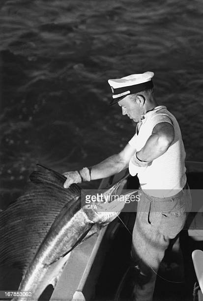 John Smedberg releases a sailfish caught in the waters near Miami Florida circa 1950 It is believed the character Des in Philip Wylie's Crunch and...