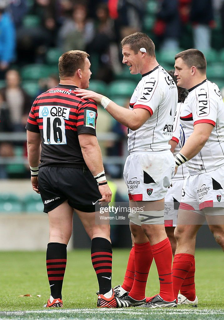 John Smit of Saracens speaks with former South Africa teammate Bakkies Botha of Toulon following the final whistle during the Heineken Cup semi final between Saracens and Toulon at Twickenham Stadium on April 28, 2013 in London, United Kingdom.