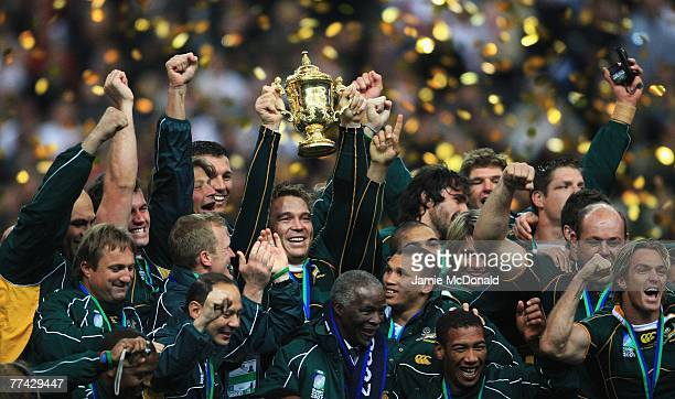 John Smit of South Africa lifts the trophy as his team mates celebrate at the end of the 2007 Rugby World Cup Final between England and South Africa...