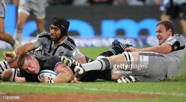 John Smit of the Sharks scores a try during the Vodacom Super Rugby match between Sharks and Hurricanes from Mr Price Kings Park Stadium on April 23...