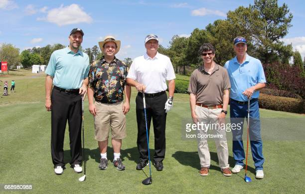 John Smoltz Kevin Butler and Tom Glavine during the second round of the Mitsubishi Electric Classic tournament at the TPC Sugarloaf Golf Club...