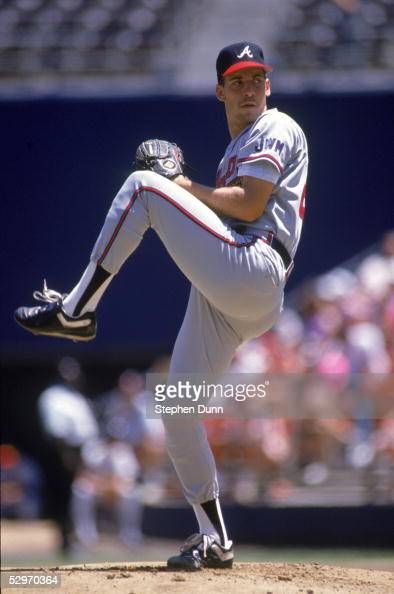 John Smoltz of the Atlanta Braves pitches against the San Diego Padres during the game on August 15 1991 at Jack Murphy Stadium in San Diego...