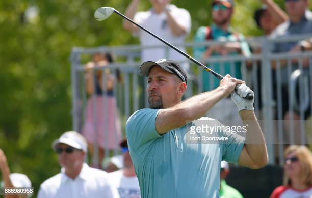 John Smoltz tees off hole during the second round of the Mitsubishi Electric Classic tournament at the TPC Sugarloaf Golf Club Saturday April 15 in...