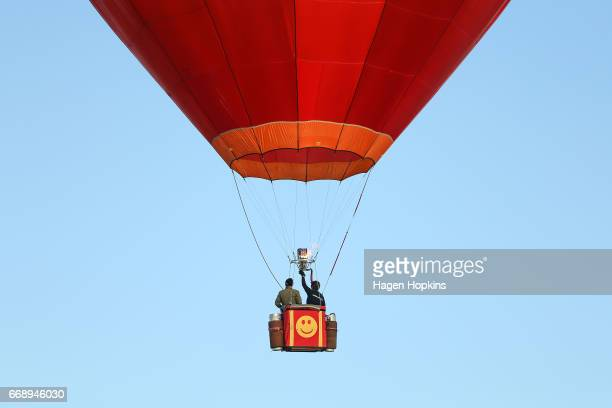 John Snodgrass flies 'Wildfire' during the Meander over Martinborough event at the Wairarapa Balloon Festival on April 16 2017 in Martinborough New...
