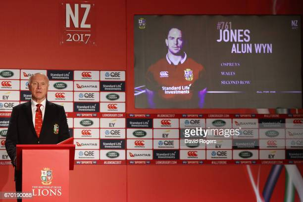 John Spencer unveils Alun Wyn Jones as a squad member during the British and Irish Lions tour squad announcement at the Hilton London Syon Park Hotel...
