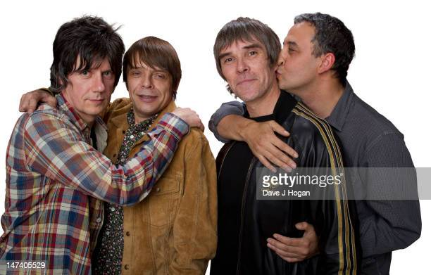 John Squire Mani Ian Brown and Reni of The Stone Roses pose for a portrait to announce they have reformed for two nights at Heaton Park in Manchester...