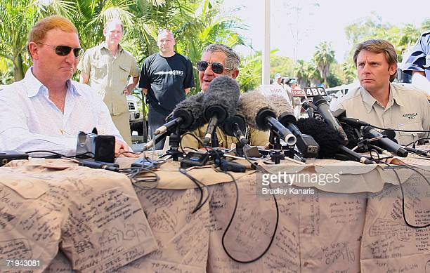 John Stainton Bob Irwin and Steve Mannion attend a press conference after the Steve Irwin Memorial Service on September 20 2006 in Beerwah Australia...