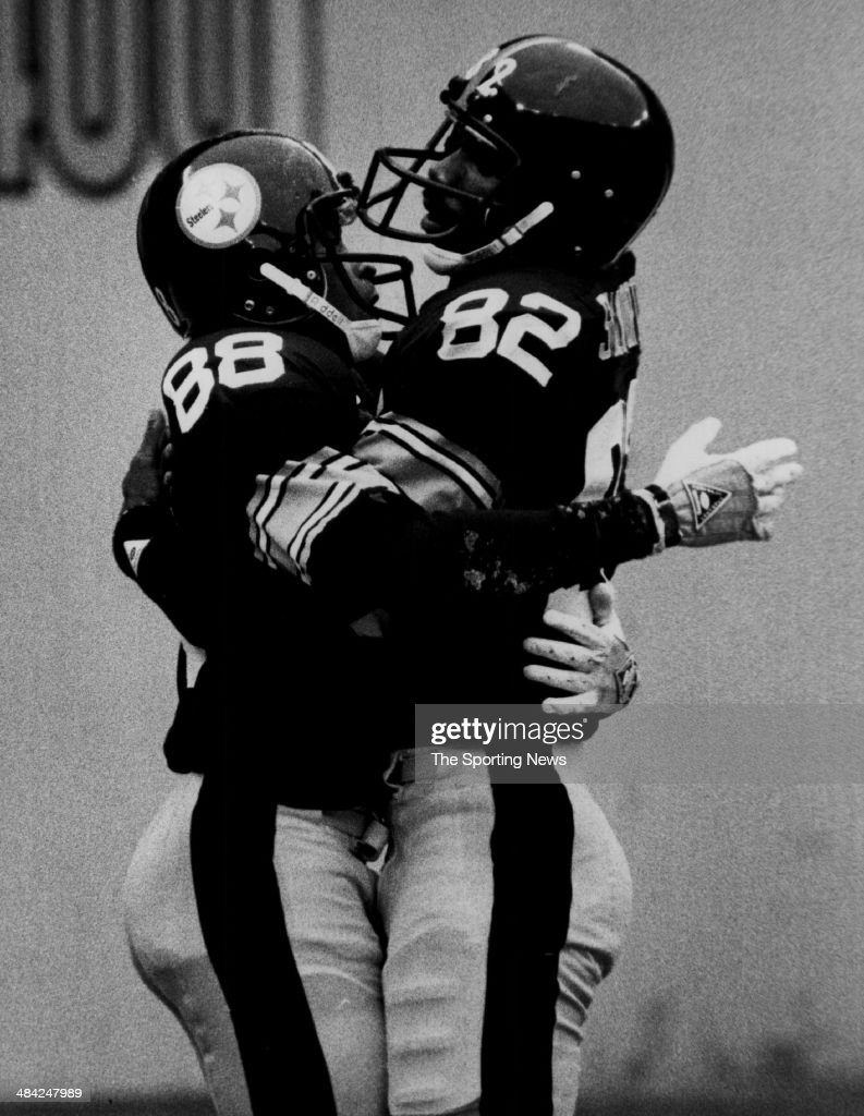 <a gi-track='captionPersonalityLinkClicked' href=/galleries/search?phrase=John+Stallworth&family=editorial&specificpeople=585421 ng-click='$event.stopPropagation()'>John Stallworth</a> of the Pittsburgh Steelers celebrates with Lynn Swann circa 1970s.