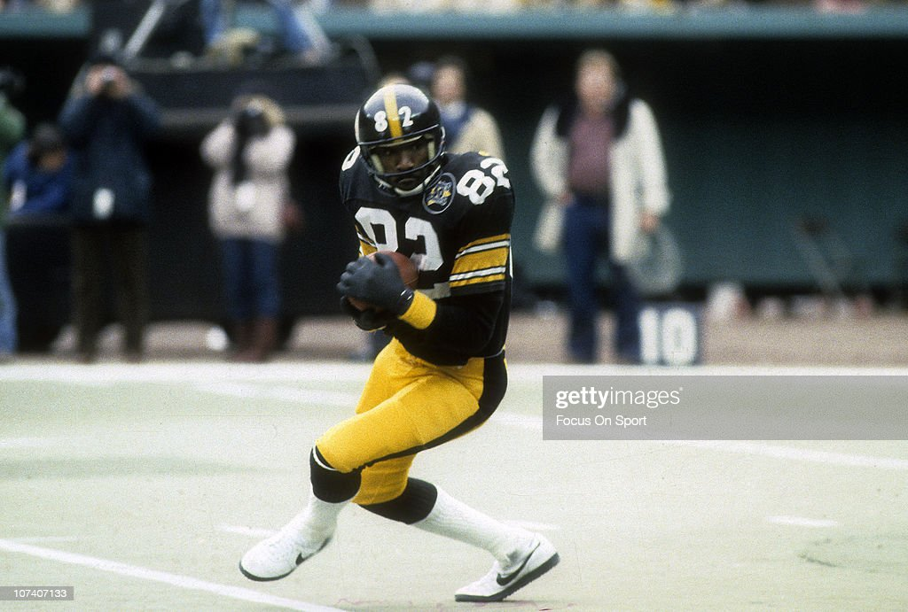 <a gi-track='captionPersonalityLinkClicked' href=/galleries/search?phrase=John+Stallworth&family=editorial&specificpeople=585421 ng-click='$event.stopPropagation()'>John Stallworth</a> #82 of the Pittsburgh Steelers in action against the San Diego Chargers during the NFL/AFC wildcard football game at Three Rivers Stadium January 9, 1983 in Pittsburgh, Pennsylvania. Stallworth played for the Steelers from 1974-87.