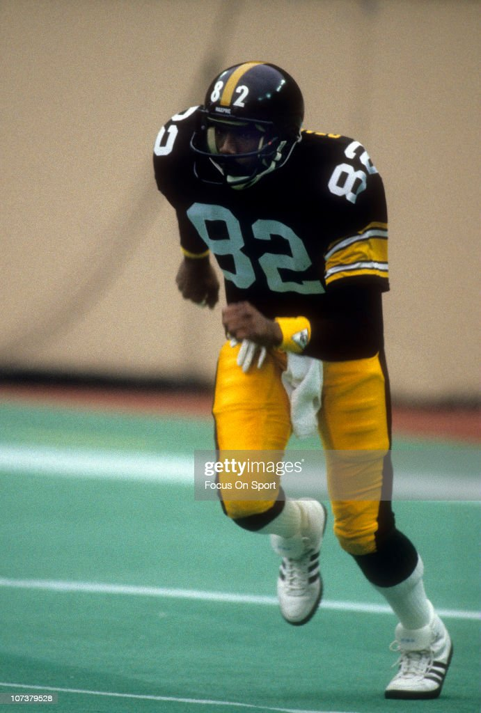 <a gi-track='captionPersonalityLinkClicked' href=/galleries/search?phrase=John+Stallworth&family=editorial&specificpeople=585421 ng-click='$event.stopPropagation()'>John Stallworth</a> #82 of the Pittsburgh Steelers in action during an NFL football game at Three Rivers Stadium circa 1980 in Pittsburgh, Pennsylvania. Stallworth played for the Steelers from 1974-87.