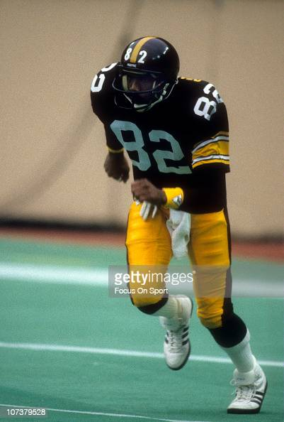 John Stallworth of the Pittsburgh Steelers in action during an NFL football game at Three Rivers Stadium circa 1980 in Pittsburgh Pennsylvania...