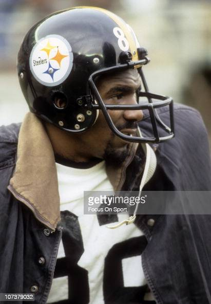 John Stallworth of the Pittsburgh Steelers loks on from the bench during an NFL football game circa 1980 Stallworth played for the Steelers from...