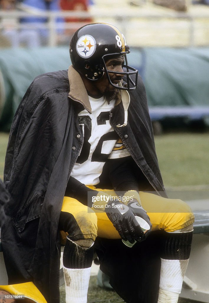 <a gi-track='captionPersonalityLinkClicked' href=/galleries/search?phrase=John+Stallworth&family=editorial&specificpeople=585421 ng-click='$event.stopPropagation()'>John Stallworth</a> #82 of the Pittsburgh Steelers looks on from the bench during an NFL football game circa 1980. Stallworth played for the Steelers from 1974-87.